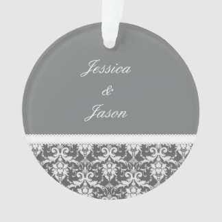 Gray and White Wedding Damask White Ribbon G74 Ornament