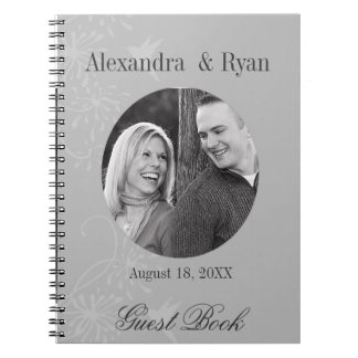 Gray and White Wedding Guest Sign In Spiral Notebook