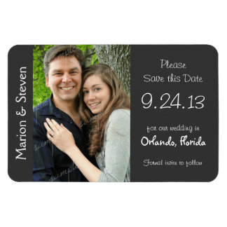 Gray and White Wedding Photo Save the Date Magnet