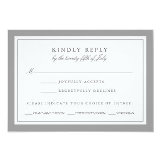 Gray and White Wedding RSVP Card w/ Meal Choice