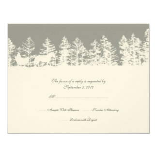 Gray and White Winter Wedding RSVP Card