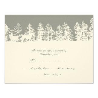 Gray and White Winter Wedding RSVP Invite