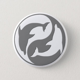Gray And White yin Yang Dolphins Button