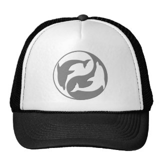 Gray And White yin Yang Dolphins Hat