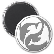 Gray And White yin Yang Dolphins Magnet