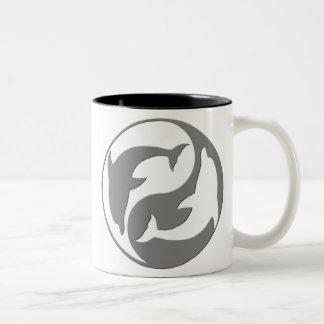 Gray And White yin Yang Dolphins Mug