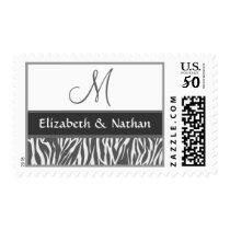 Gray and White Zebra Print Monogram Wedding Postage