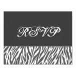 "Gray and White Zebra Print RSVP Wedding 4.25"" X 5.5"" Invitation Card"