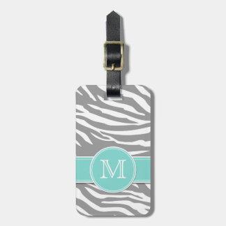 Gray and White Zebra stripes with monogram Travel Bag Tag