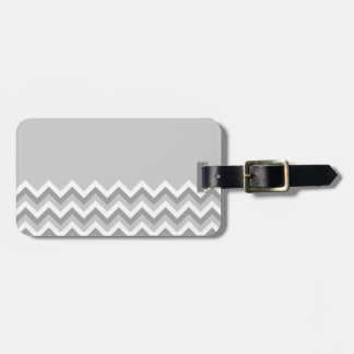 Gray and White Zig Zag Pattern. Part Plain Gray. Bag Tag