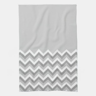 Gray and White Zig Zag Pattern. Part Plain Gray. Hand Towels