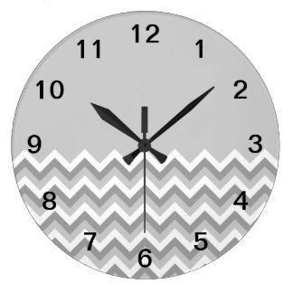 Gray and White Zig Zag Pattern. Part Plain Gray. Large Clock