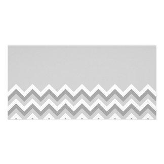 Gray and White Zig Zag Pattern. Part Plain Gray. Photo Card
