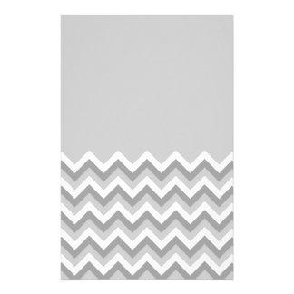 Gray and White Zig Zag Pattern. Part Plain Gray. Stationery Design