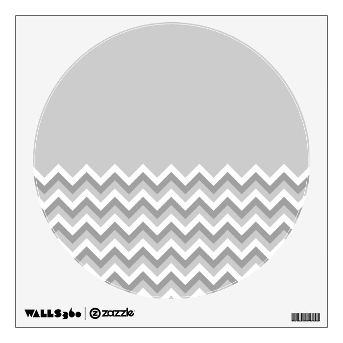 Gray and White Zig Zag Pattern. Part Plain Gray. Wall Decal