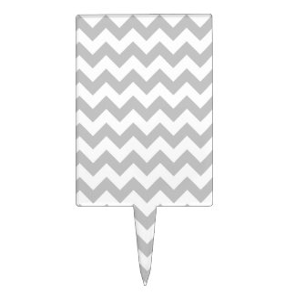 Gray and White Zigzag Chevron Pattern Cake Topper