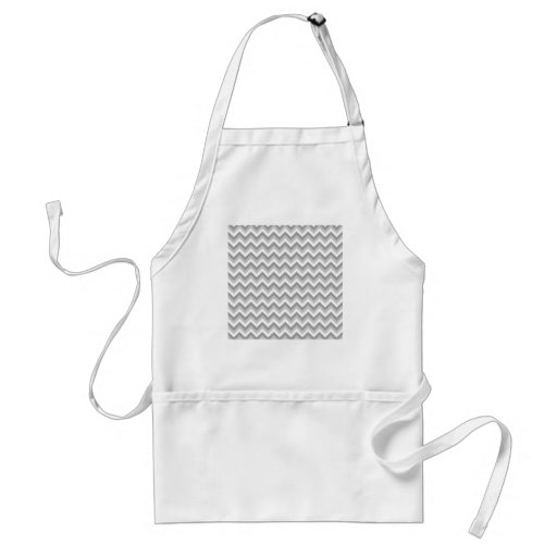 Gray and White Zigzag Pattern. Adult Apron