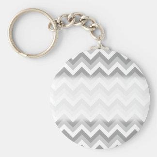 Gray and White Zigzag Pattern. Keychain