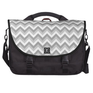 Gray and White Zigzag Pattern. Laptop Computer Bag