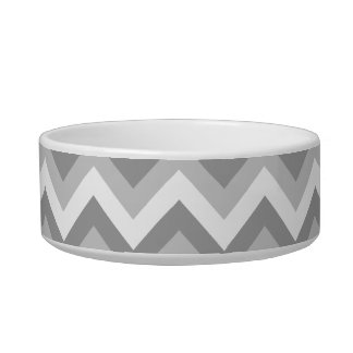 Gray and White Zigzag Pattern. Pet Food Bowl