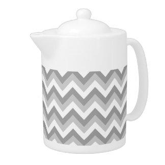 Gray and White Zigzag Pattern. Teapot
