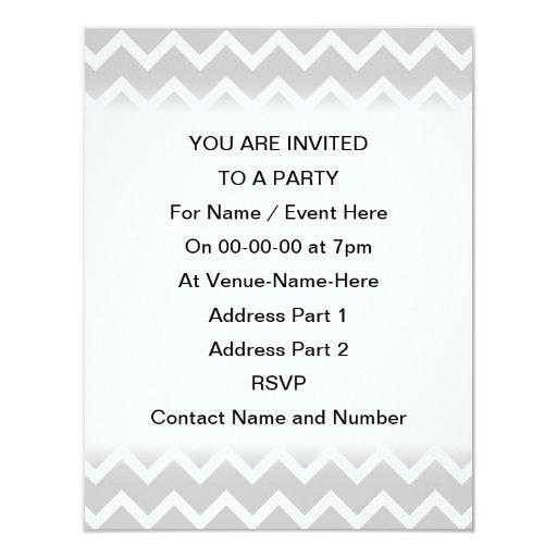 Gray and White Zigzag Stripes. 4.25x5.5 Paper Invitation Card