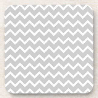 Gray and White Zigzag Stripes. Beverage Coaster