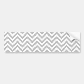 Gray and White Zigzag Stripes Chevron Pattern Bumper Sticker