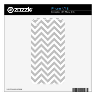 Gray and White Zigzag Stripes Chevron Pattern Decal For iPhone 4S