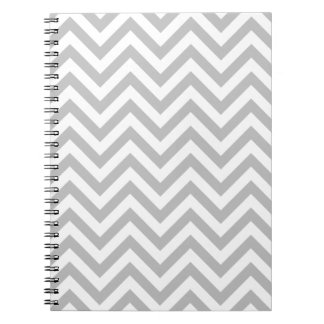 Gray and White Zigzag Stripes Chevron Pattern Notebook
