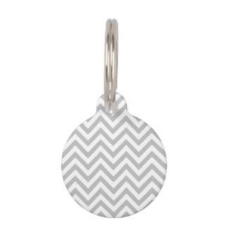 Gray and White Zigzag Stripes Chevron Pattern Pet ID Tag