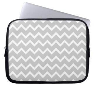 Gray and White Zigzag Stripes. Computer Sleeve