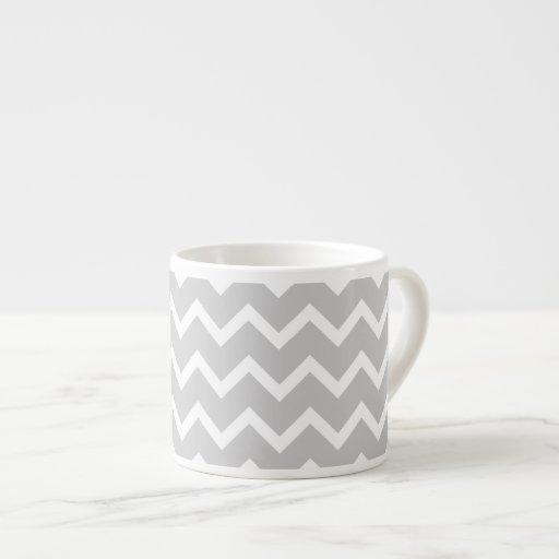 Gray and White Zigzag Stripes. Espresso Cup