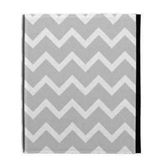 Gray and White Zigzag Stripes. iPad Folio Cases