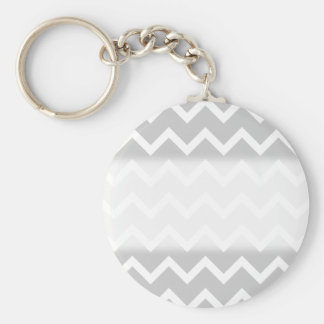 Gray and White Zigzag Stripes. Key Chains