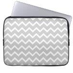 Gray and White Zigzag Stripes. Laptop Sleeve