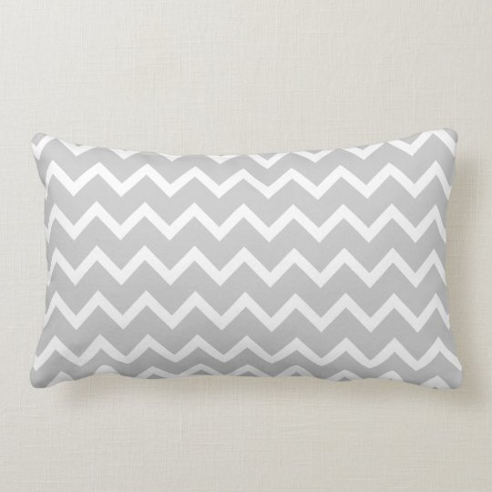 Gray and White Zigzag Stripes. Lumbar Pillow