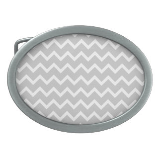Gray and White Zigzag Stripes. Oval Belt Buckle