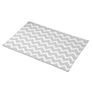 Gray and White Zigzag Stripes. Cloth Place Mat