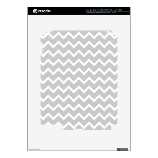 Gray and White Zigzag Stripes. iPad 3 Decal