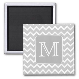 Gray and White Zigzags with Custom Monogram. 2 Inch Square Magnet