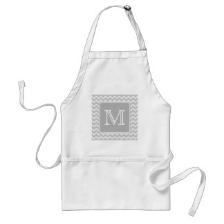 Gray and White Zigzags with Custom Monogram. Adult Apron