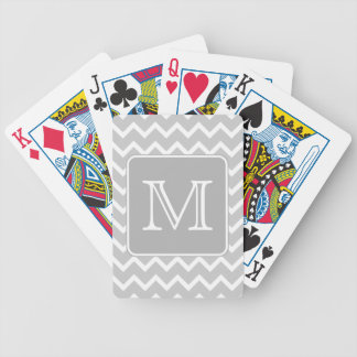 Gray and White Zigzags with Custom Monogram. Bicycle Playing Cards