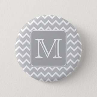 Gray and White Zigzags with Custom Monogram. Button