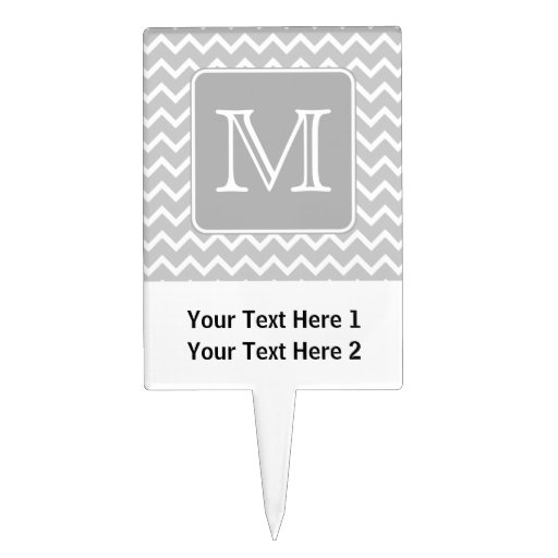 Gray and White Zigzags with Custom Monogram. Cake Pick