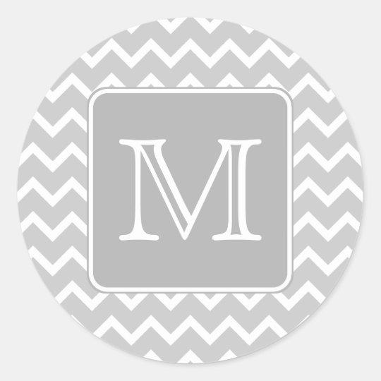 Gray and White Zigzags with Custom Monogram. Classic Round Sticker