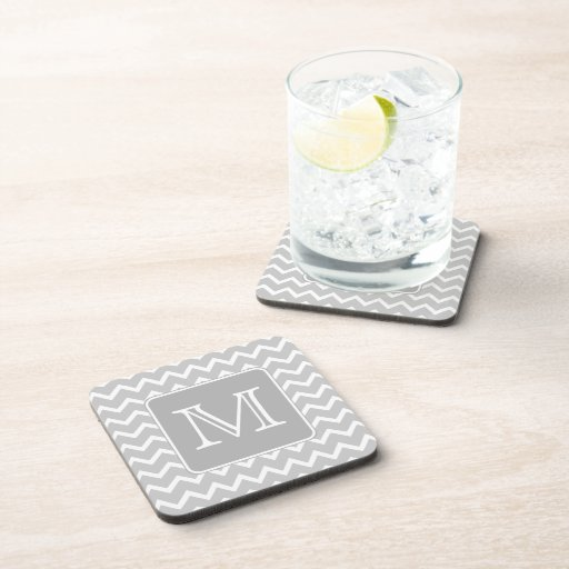 Gray and White Zigzags with Custom Monogram. Drink Coasters
