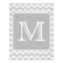 Gray and White Zigzags with Custom Monogram. Flyer