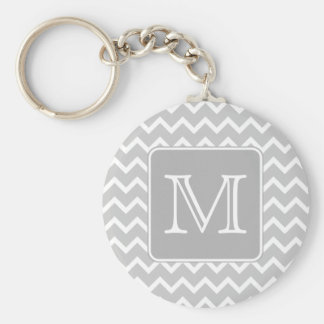 Gray and White Zigzags with Custom Monogram. Key Chain