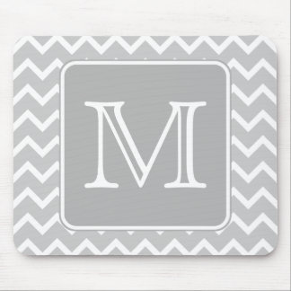 Gray and White Zigzags with Custom Monogram. Mouse Pad